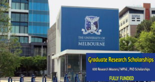 600 Postgraduate Research Scholarship slots at the University of Melbourne - Ongoing