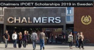 Chalmers University of Technology IPOET Postgraduates Scholarship 2020 in Sweden