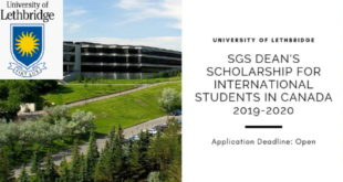 ULeth SGS Dean's Education Support 2019-2020 for International Students to Study in Canada
