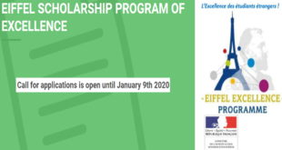 2020 French Government EIFFEL Excellence Scholarship Program for Foreign Students
