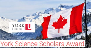 Call for Application- York Science Scholars Award 2020-2021 in Canada.