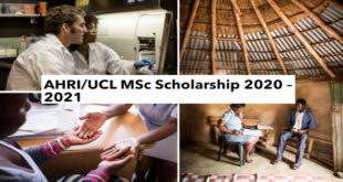 Fully-Funded AHRI-UCL MSc Scholarship 2020 – 2021 at University College London, UK
