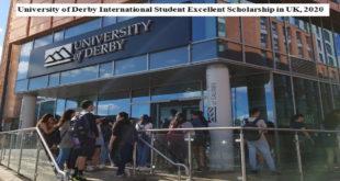 University of Derby International Student Excellent Scholarship in UK, 2020