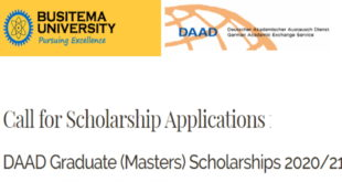 DAAD Masters Scholarships 2020-21 at Busitema University (Full-Funded)