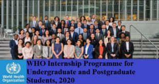 WHO Internship Programme for Undergraduate and Postgraduate Students