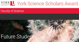 York Science Scholars Award (YSSA) to Study in Canada, 2020