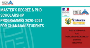 French Embassy Postgraduate (MSc and PhD) Scholarships 2020