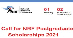 Call for Application: NRF Postgraduate Scholarships 2021