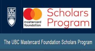 Mastercard Foundation Scholars Program at University of British Columbia – Canada 2021/22