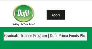 Dufil Prima Foods Plc Graduate Trainee Program 2020