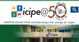 ARPPIS-DAAD PhD scholarships 2021 for study at icipe, Kenya (Fully-Funded)
