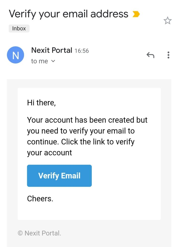 Nexit Verification Email on inbox