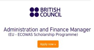 British Council Recruitment for Administration and Finance Manager (EU - ECOWAS Scholarship Programme)