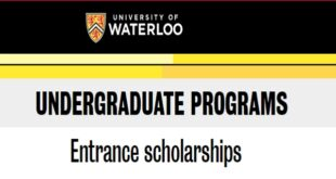 University of Waterloo Entrance scholarships 2021/22, Canada Scholarships