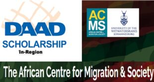 DAAD Full Masters and PhD Scholarships At ACMS 2022 (In Region)