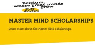 Government of Flanders Master Mind Scholarships 2021
