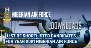 Nigerian Air Force Shortlist 2021: Selection Exercise for BMTC 2021