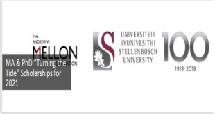 Stellenbosch University Turning the Tide Scholarship 2021 for Masters and PhD Studies