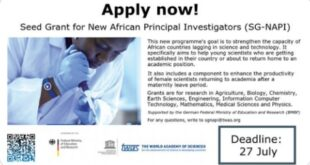 TWAS-Seed Grant for New African Principal Investigators