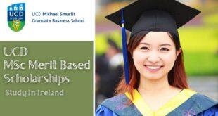 UCD Smurfit School MSc Academic Excellence Scholarships 2021/2022