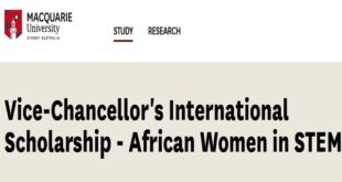 Vice-Chancellor's International Scholarship – African Women in STEM