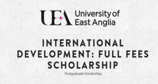 University of East Anglia International Full Fees Scholarship 2021